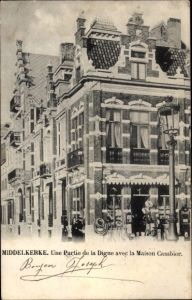 Ak Middelkerke Westflandern, Une Partie de la Digue avec la Maison Cambier