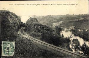 Ak Montlucon Allier, Rives du Cher pres Lavault Sainte Anne