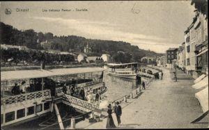 Ak Dinant Wallonien Namur, Les bateaux Namur, depart