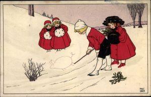 Künstler Ak Ebner, Pauli, Kinder im Schnee, Glücksschwein