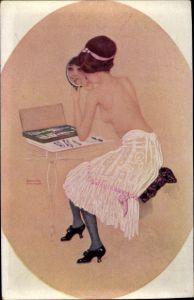 Künstler Ak Kirchner, Raphael, Junge Frau bei der Toilette, Schminke, Handspiegel