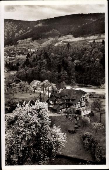 Ak Gausbach Forbach Schwarzwald, Hotel und Pension zur schönen Aussicht