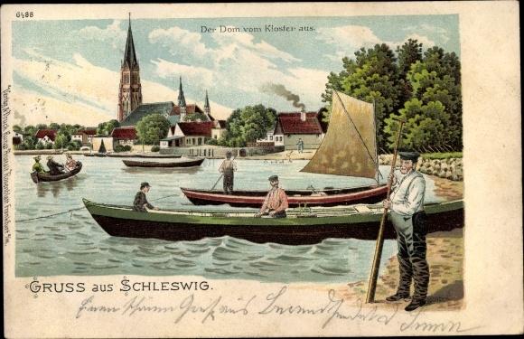 Litho Schleswig an der Schlei, Der Dom vom Kloster aus