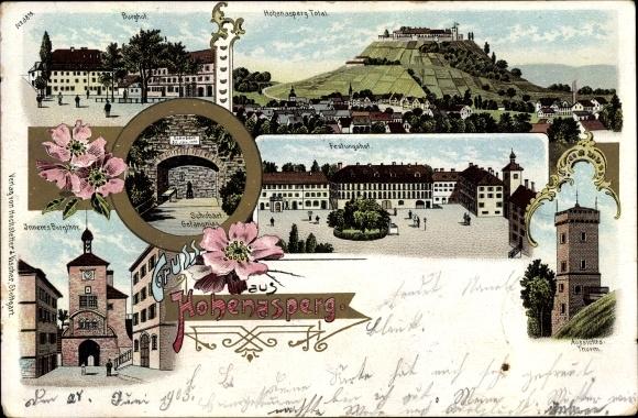 Litho Asberg Baden Württemberg, Hohenasperg, Burghof, Festungshof, Burgtor, Aussichtsturm