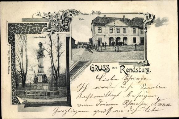 Ak Rendsburg in Schleswig Holstein, Lornsen Denkmal, Wache