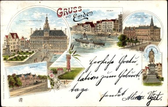 Litho Emden in Ostfriesland, Rathaus, Kaiserdenkmal, Wasserwerk, Bahnhof