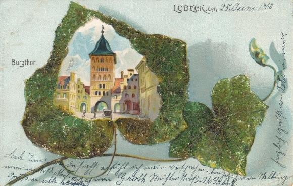 Perl Efeublatt Litho Lübeck in Schleswig Holstein, Burgtor