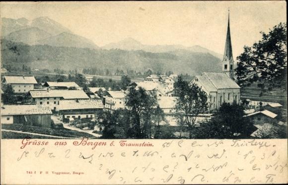 Ak Bergen im Chiemgau in Oberbayern, Ortschaft, Kirchturm