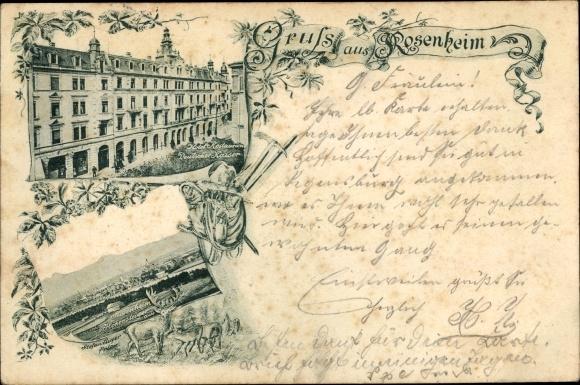 Ak Rosenheim im Alpenvorland Oberbayern, Hotel Restauration Deutscher Kaiser