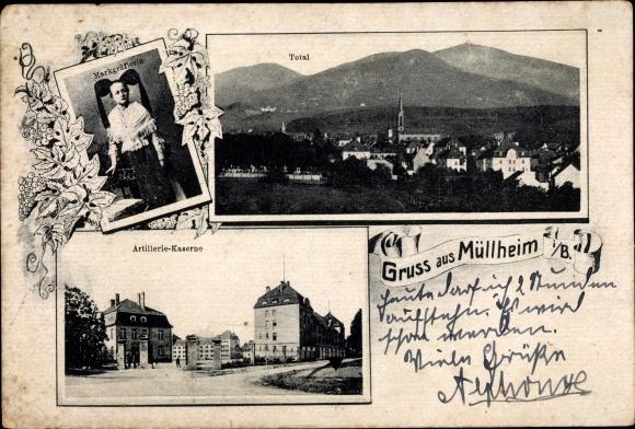 Ak Müllheim in Baden, Totalansicht, Artilleriekaserne, Markgräflerin
