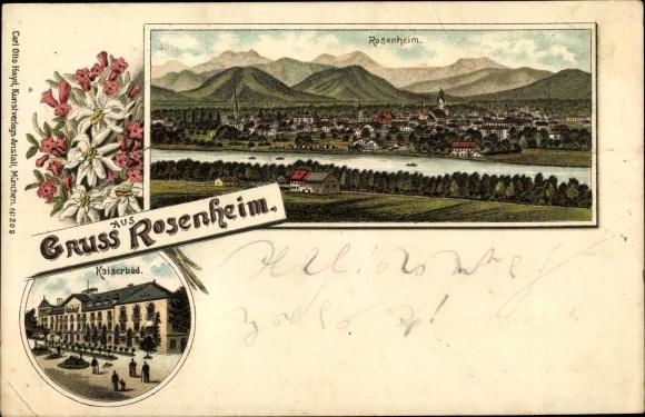 Litho Rosenheim im Alpenvorland Oberbayern, Ortschaft, Kaiserbad