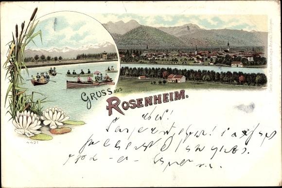 Litho Rosenheim im Alpenvorland Oberbayern, Ortschaft, Ruderboote