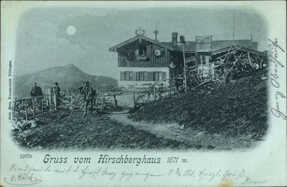 Mondschein Ak Bad Wiessee in Oberbayern, Hirschberghaus