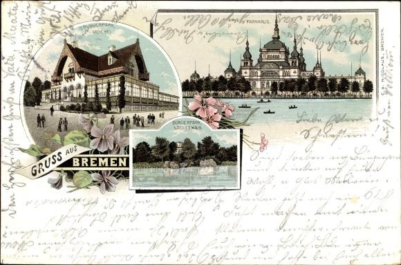 Vorläufer Litho Hansestadt Bremen, Parkhaus, Bürgerpark, Meierei, Kaffeehaus