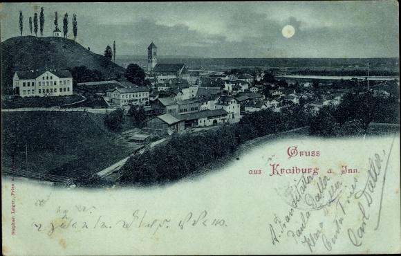 Mondschein Ak Kraiburg am Inn Alpenvorland, Totalansicht