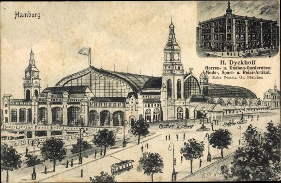 Künstler Ak Hamburg, Bahnhof, H. Dyckhoff Herren- und Knabengarderoben