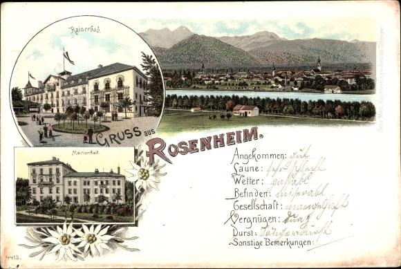 Litho Rosenheim im Alpenvorland Oberbayern, Kaiserbad, Marienbad