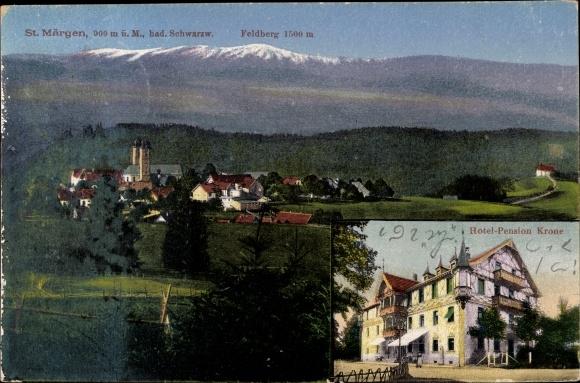 Ak St. Märgen BW, Totalansicht, Feldberg, Hotel Pension Krone