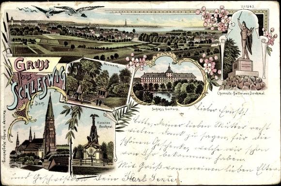 Litho Schleswig an der Schlei, Neuwerk, Schloss Goltarp, Kanonendenkmal, Dom