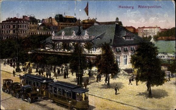 Ak Hamburg, Alsterpavillon, Straßenbahn