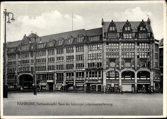 Ak Hamburg, Rathausmarkt, Haus der Leipziger Lebensversicherung