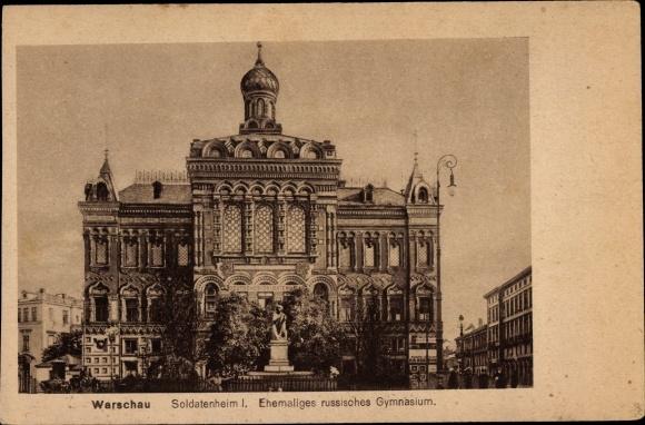 Ak Warszawa Warschau Polen, Soldatenheim, ehemaliges russisches Gymnasium