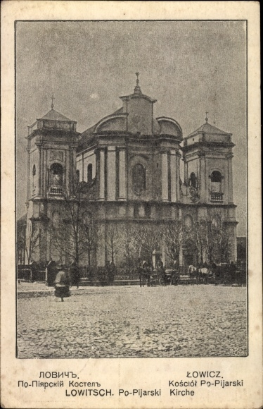 Ak Lowicz Lowitsch Polen, Po-Pijarski Kirche
