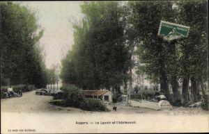 Ak Augers Seine et Marne, Le Lavoir et l'Abreuvoir
