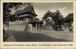 Ak Berlin Charlottenburg, Zoologischer Garten, Eingang, Elefantentor, Budapester Straße