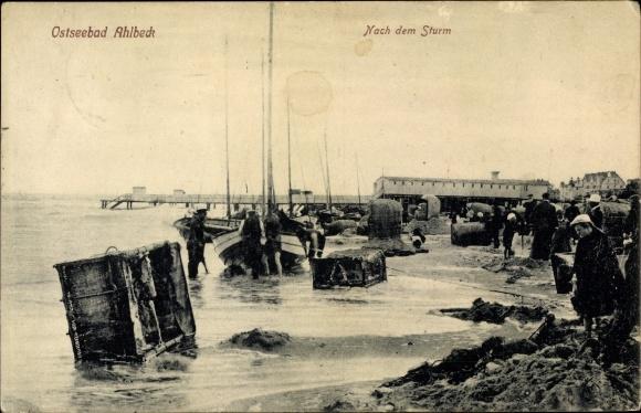 Ak Ostseebad Ahlbeck Heringsdorf auf Usedom, Strandpartie, Nach dem Sturm