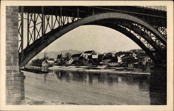 Ak Maribor Marburg Slowenien, Brücke, Draupartie, Teilansicht vom Ort