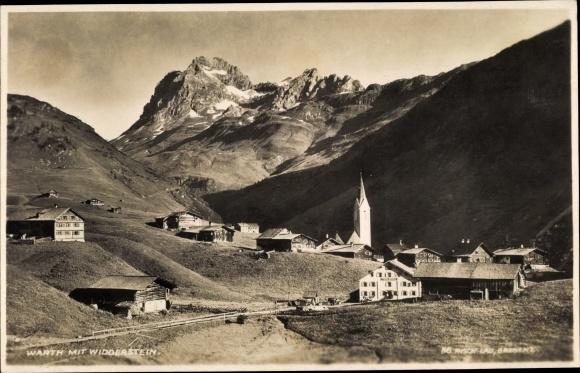Ak Warth in Vorarlberg, Talpanorama vom Ort, Kirche, Widderstein