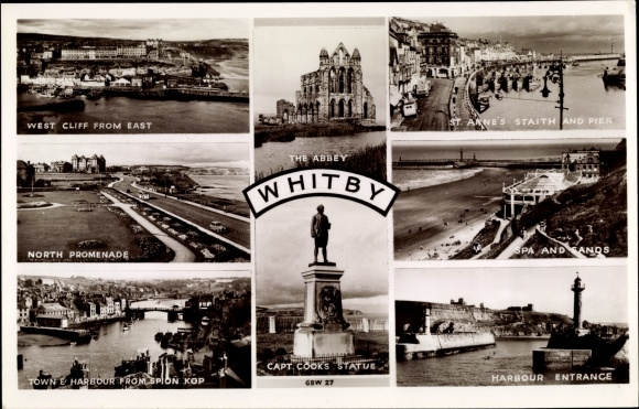 Ak Whitby Yorkshire, West Cliff from East, Abbey, Capt Cook's Statue, harbour entrance, lighthouse
