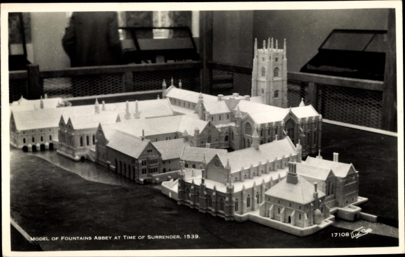 Ak Yorkshire, Model of fountains Abbey at time of Surrender 1539