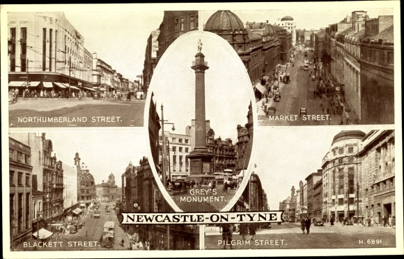 Ak Newcastle upon Tyne North East England, Northumberl., Market, Blackett, Pilgrim streets, monument