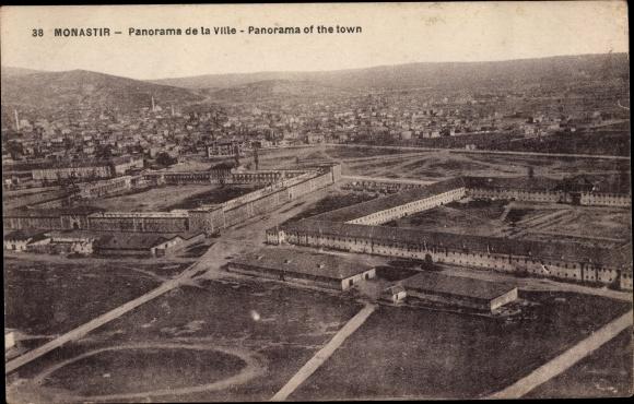 Ak Bitola Monastir Mazedonien, Panorama de la Ville, vue aerienne