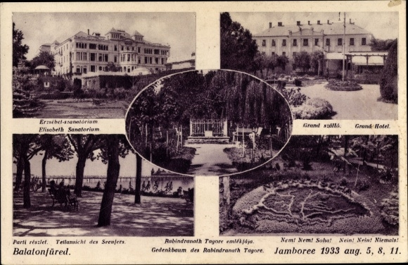 Ak Balaton See Ungarn, Elisabeth Sanatorium, Grand Hotel, Seeufer, Gedenkbaum, Propaganda