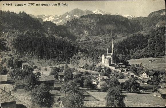 Ak Lungern Kt. Obwalden Schweiz, Panorama gegen den Brünig