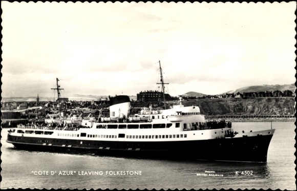 Ak Folkestone Kent South East England, Steam Ship Cote d'Azur leaving harbour