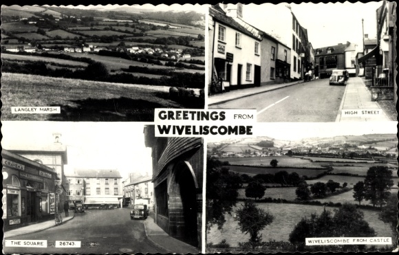Ak Wiveliscombe South West England, Langley Marsh, High Street, The Square, Wiveliscombe from Castle