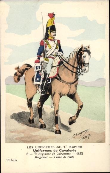 Künstler Ak Les Uniformes du 1er Empire, Uniformes de Cavalerie, 7o Régiment de Cuirassier 1812