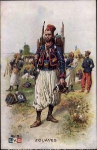 Künstler Ak Zouaves, Französische Kolonialsoldaten, Zuaven