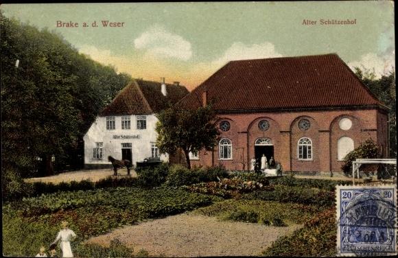 Ak Brake an der Unterweser, Alter Schützenhof, Garten