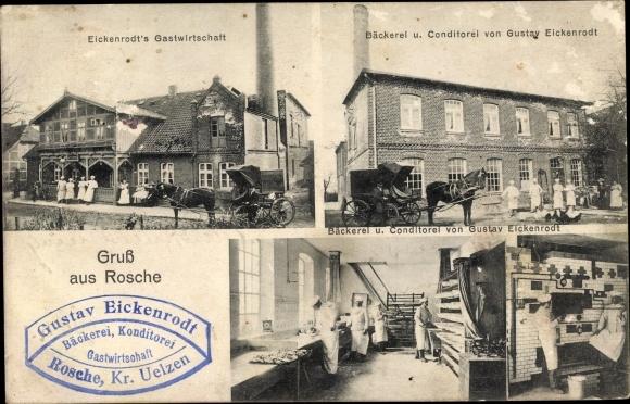 Ak Rosche Niedersachsen, Eickenrodt's Gastwirtschaft, Bäckerei Konditorei