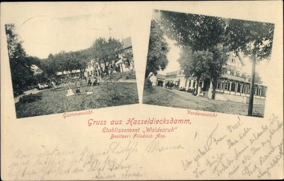 Ak Hasseldiecksdamm Kiel in Schleswig Holstein, Etablissement Waldesruh