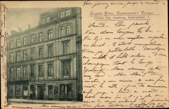 Ak Hamburg, English Hotel, Restaurant, Admiralitätsstraße 2