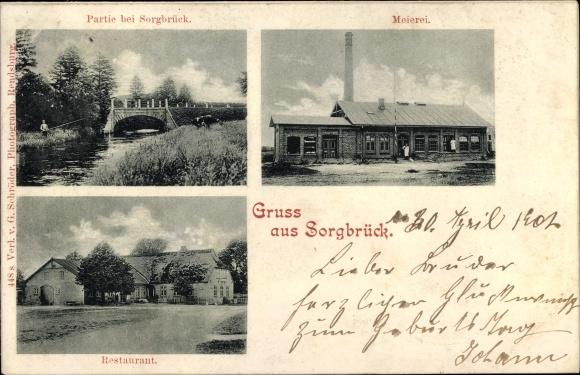 Ak Sorgbrück Lohe Föhrden in Schleswig Holstein, Meierei, Restaurant