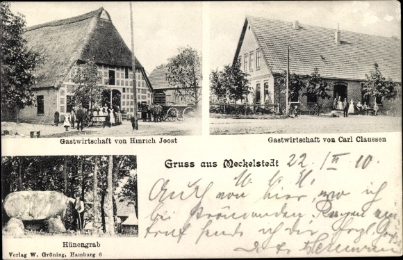 Ak Meckelstedt Geestland Landkreis Cuxhaven, Hünengrab, Gastwirtschaft