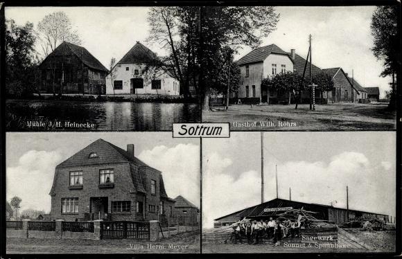 Ak Sottrum Nds., Mühle J.H. Heinecke, Villa Herm. Meyer, Sägewerk Sonnet & Spannhake, Gasthof