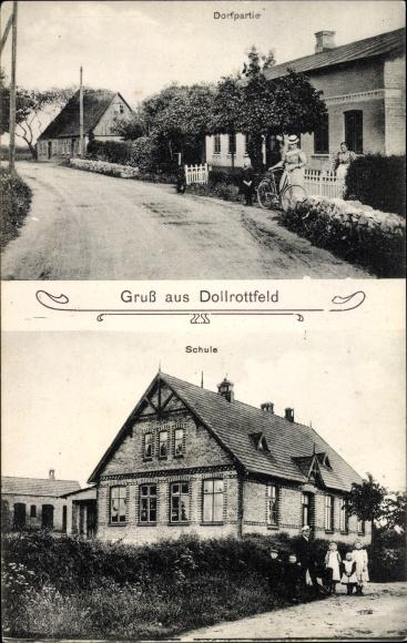 Ak Dollrottfeld in Schleswig Holstein, Schule, Straße, Wohnhäuser